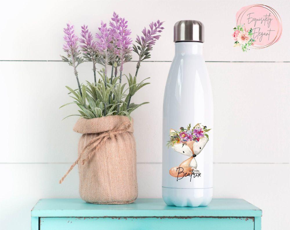 Floral Fox Double Wall Bottle