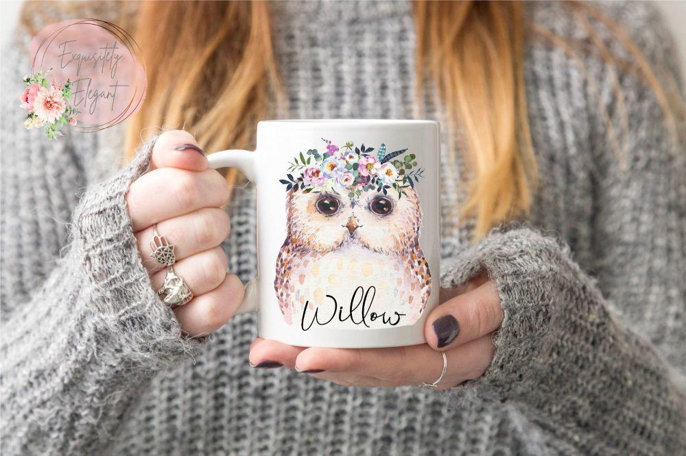Floral Owl Mug