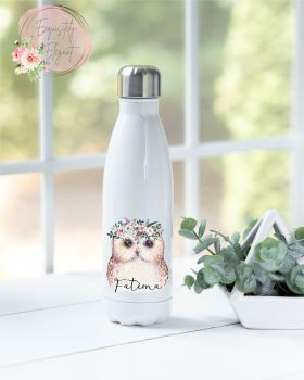 Floral Owl Double Wall Bottle