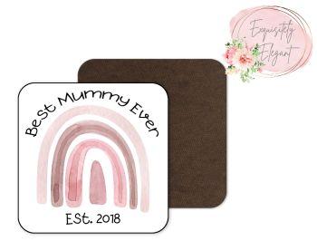 Pink Rainbow Mummy Coaster