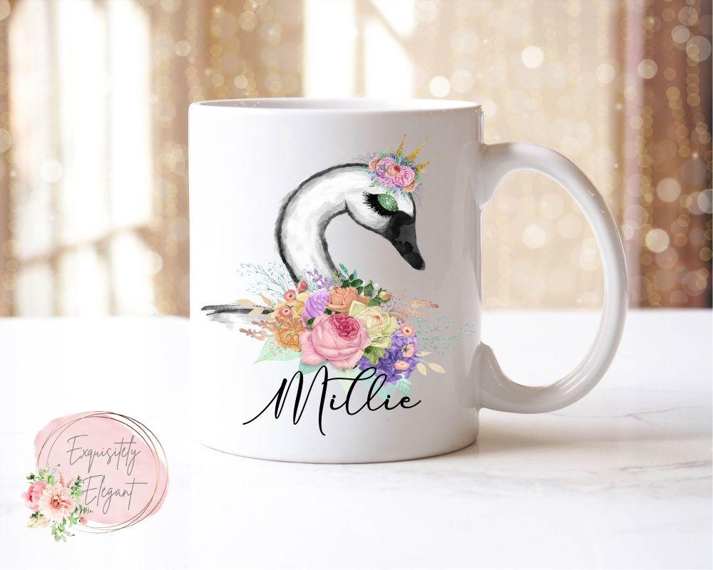 Floral Swan Mug