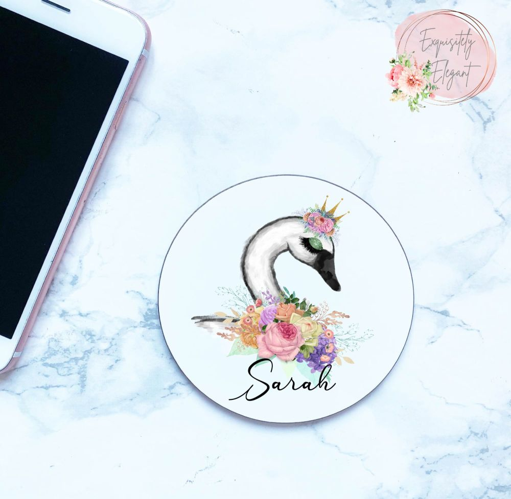 Floral Swan Coaster