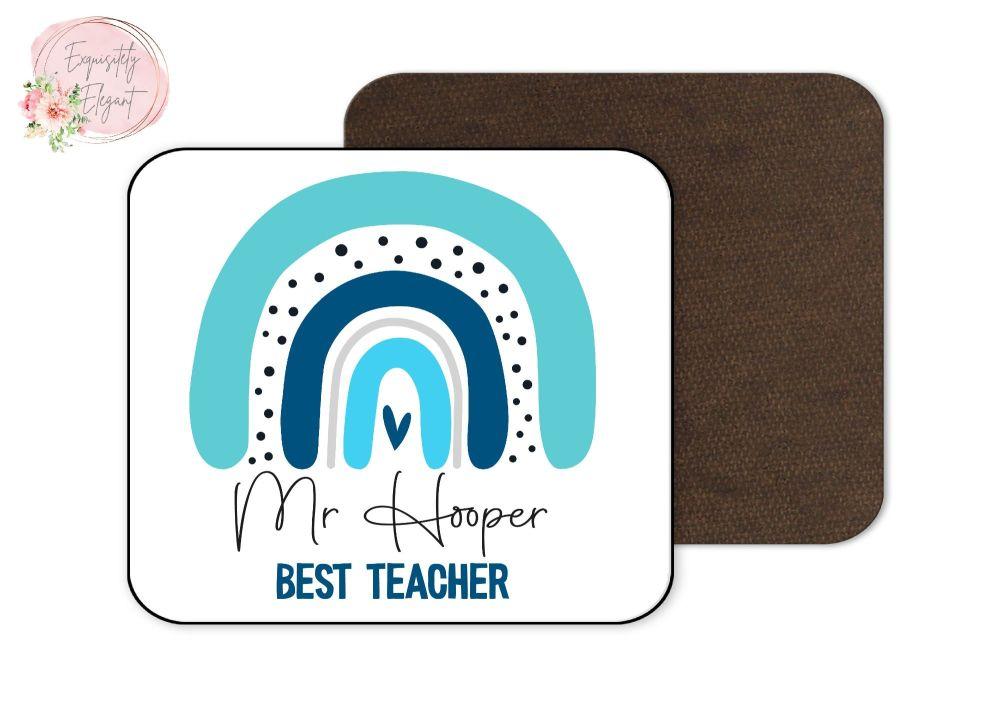 Rainbow Blue Teacher Coaster