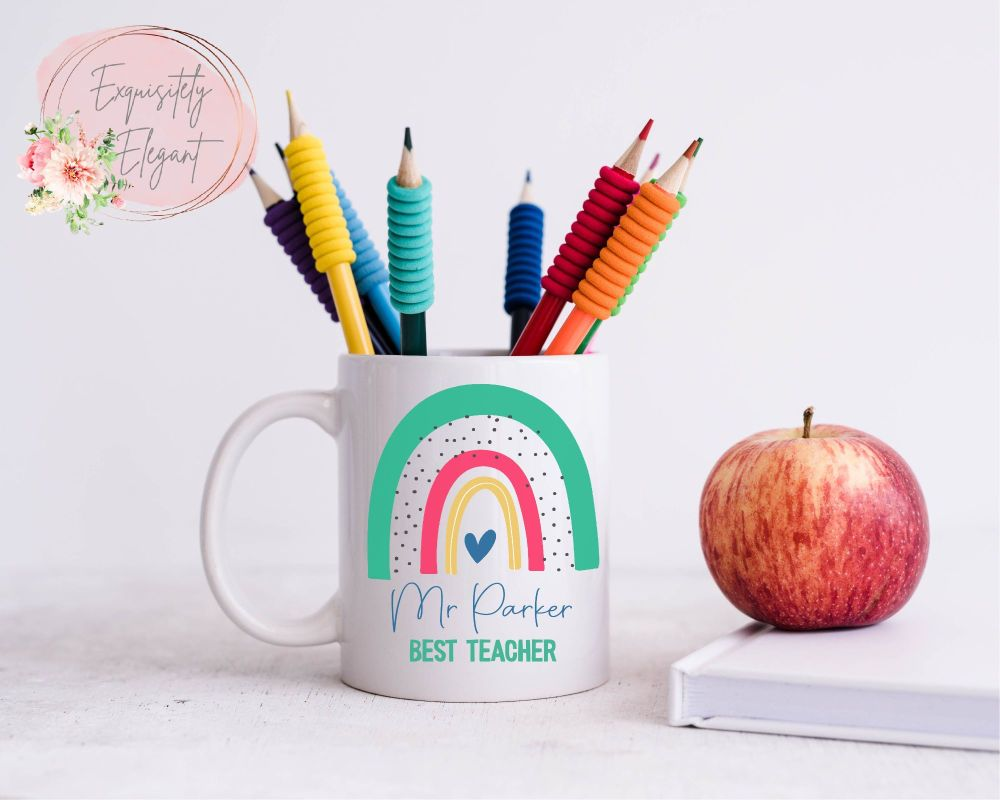 Teacher Rainbow Green Mug