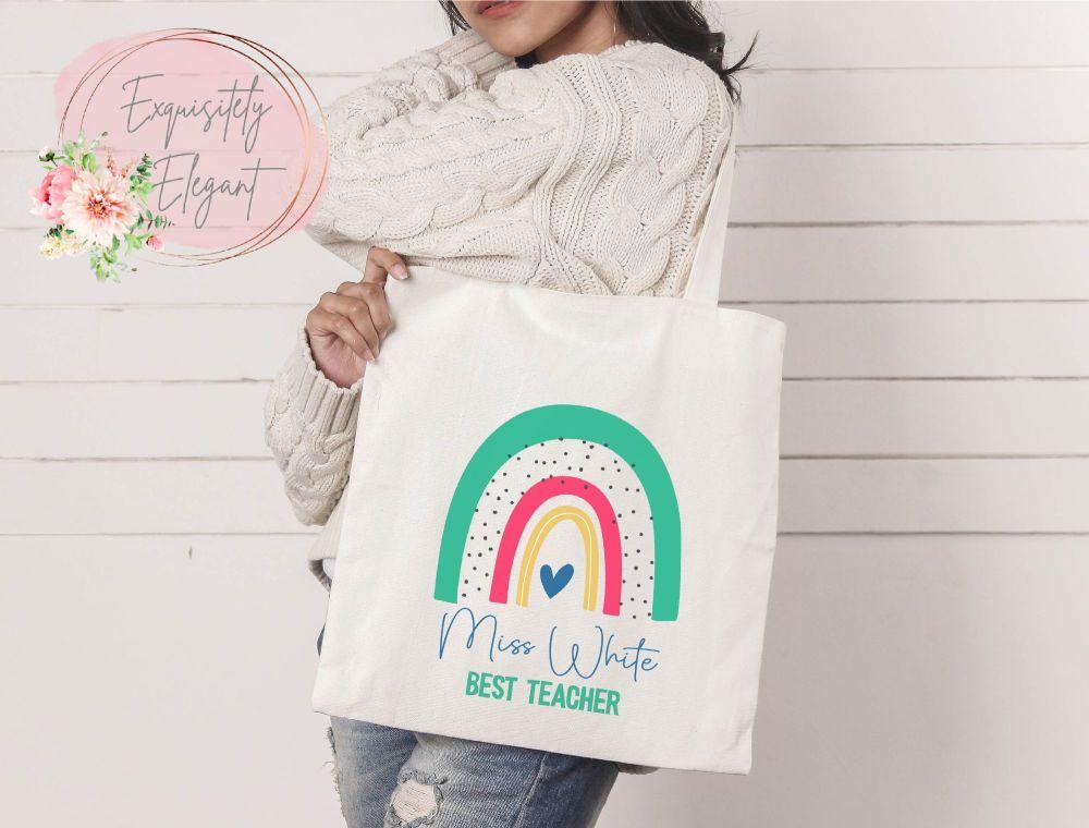 Personalised Green Rainbow Teacher Bag