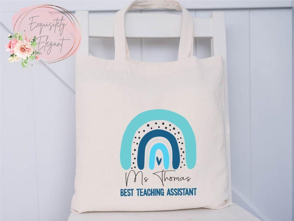 Personalised Blue Rainbow Teacher Bag