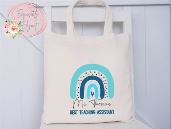 Blue Rainbow Teacher Tote Bag
