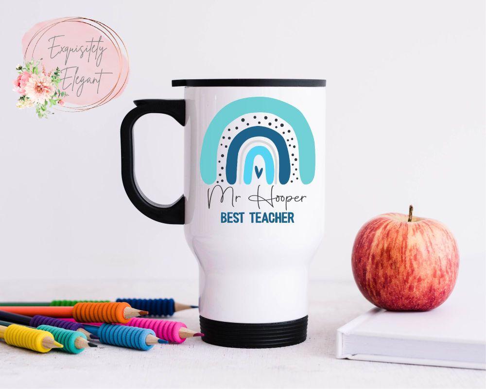 Personalised Blue Rainbow Teacher Travel Mug