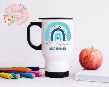 Blue Rainbow Teacher Travel Mug