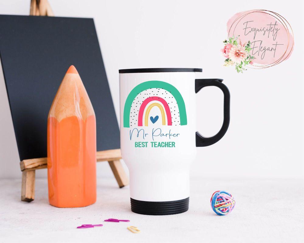 Personalised Green Rainbow Teacher Travel Mug
