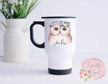 Floral Owl Travel Mug