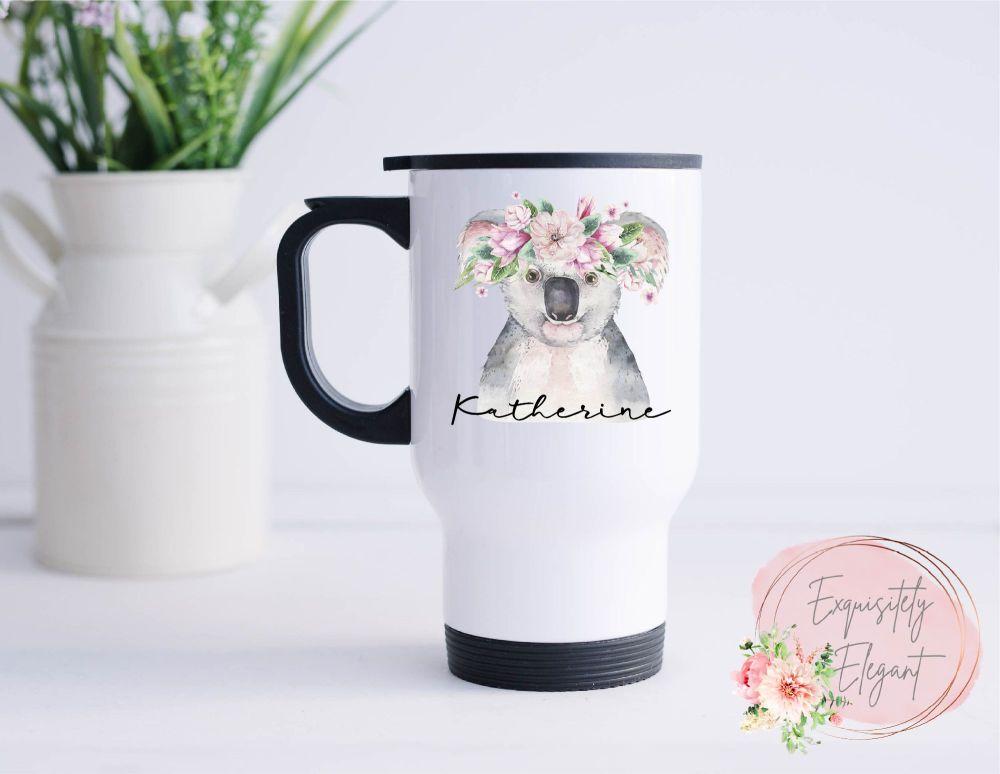 Personalised Floral Koala Travel Mug
