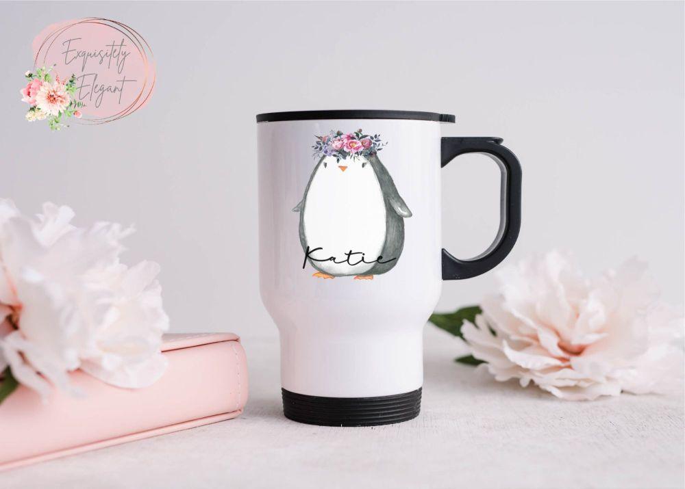 Personalised Floral Penguin Travel Mug