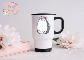 Floral Penguin Travel Mug