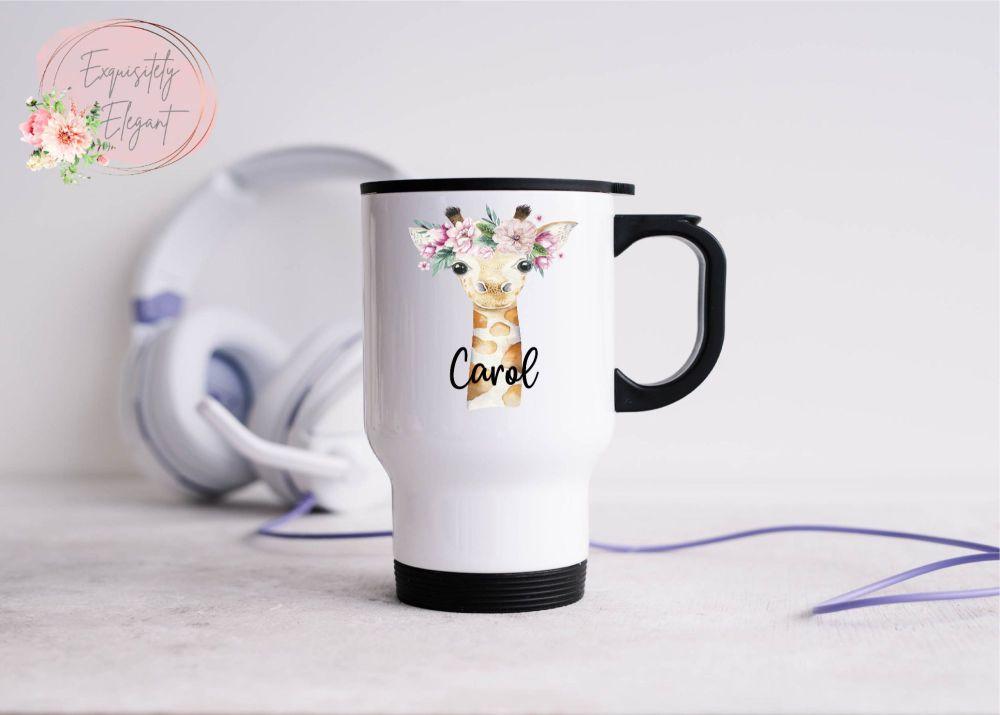 Personalised Floral Giraffe Travel Mug