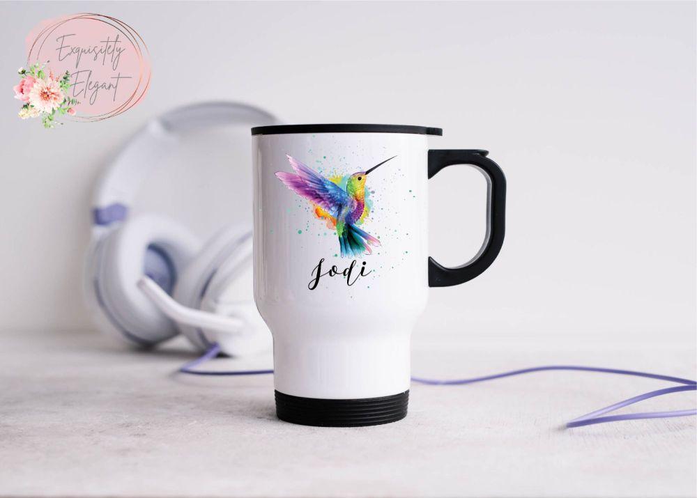 Personalised Hummingbird Travel Mug