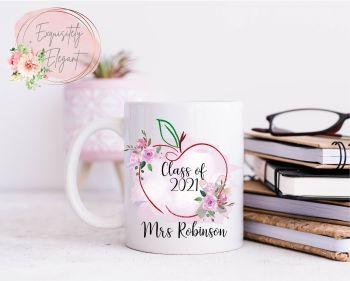 Pink Apple Design Teacher Mug