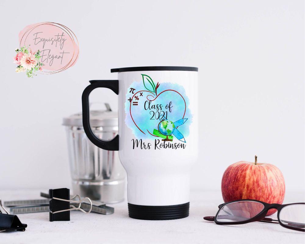 Personalised Blue Apple Teacher Travel Mug