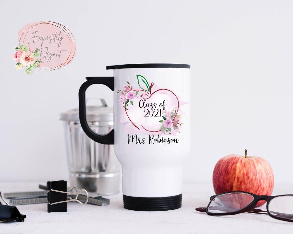 Personalised Pink Apple Teacher Travel Mug