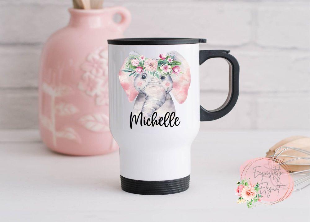 Floral Elephant Travel Mug