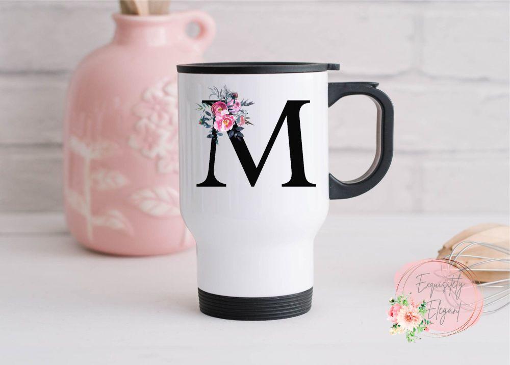 Floral Letter Travel Mug