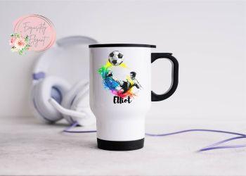 Football Theme Travel Mug
