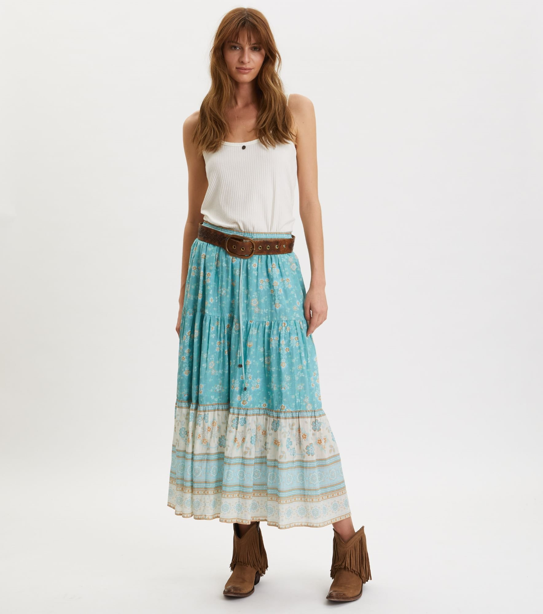 320M-549-Bohemic skirt-MOROCCAN TURUOISE-Front 1