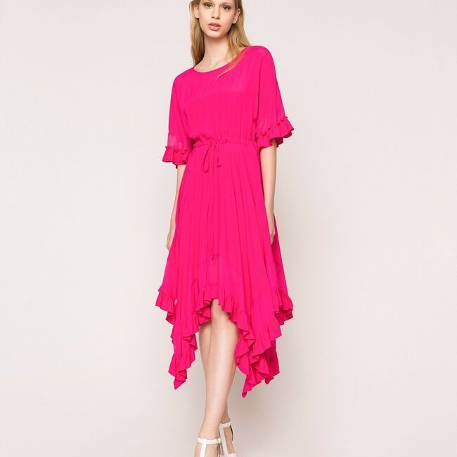 Silk Blend Crepe de Chine Dress