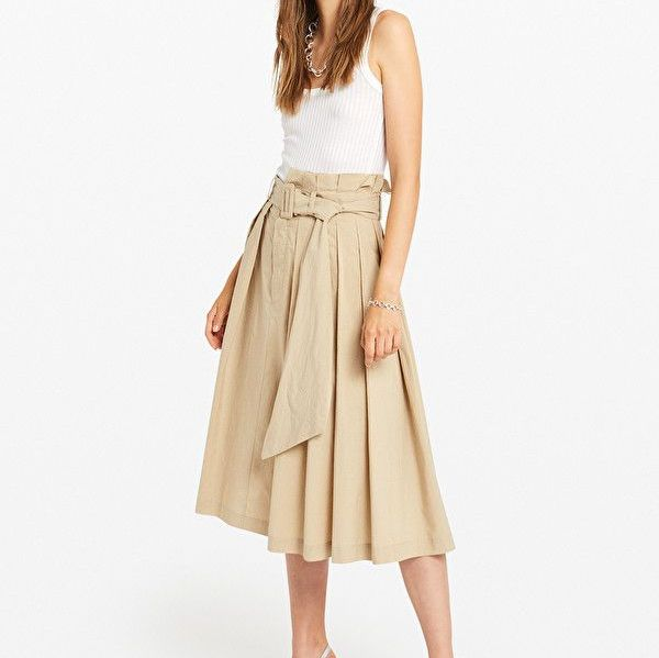 Ottod'Ame Poplin Vanilla Midi Skirt With Belt