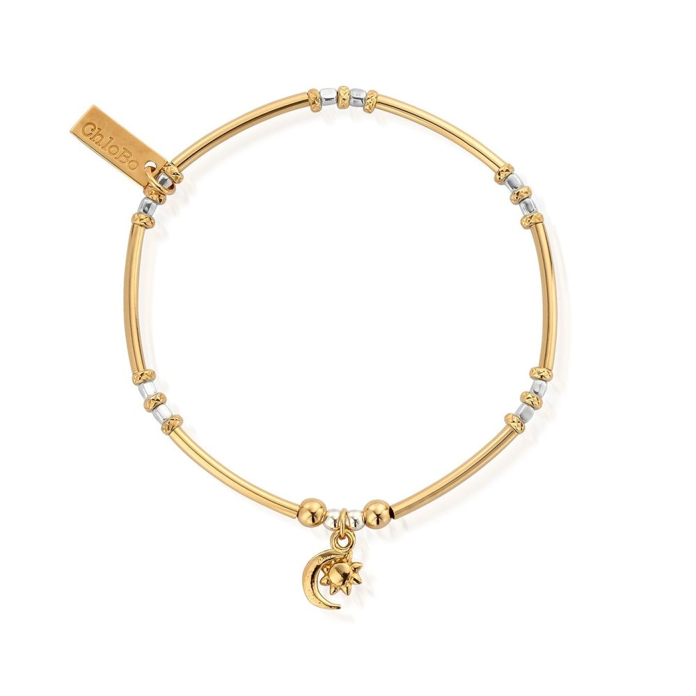 Gold and Silver Dainty Moon Bracelet