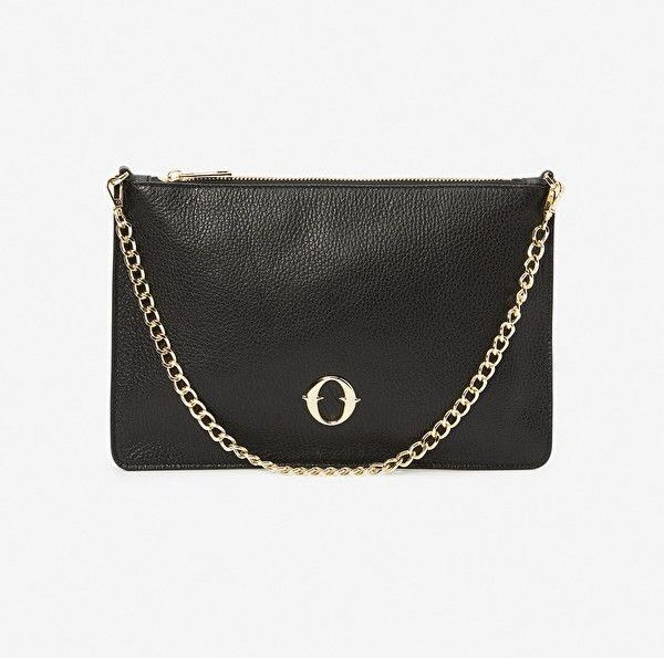 Ottod'Ame Leather Clutch Bag with Chain