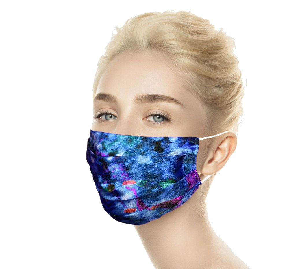 Laura Orchant Silk Face Mask in Blue