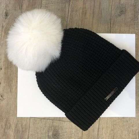 BKLYN Black Waffle Hat with White Pom Pom
