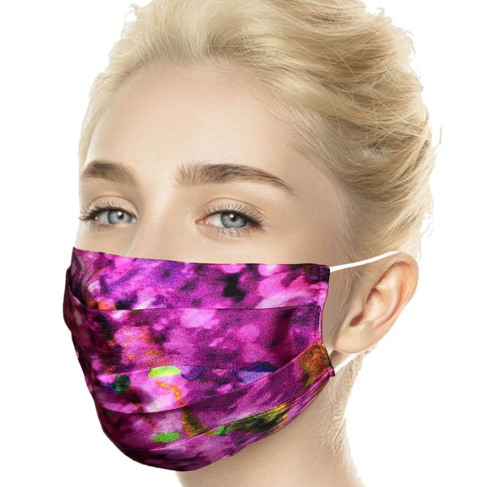 Laura Orchant Silk Face Mask in Pink