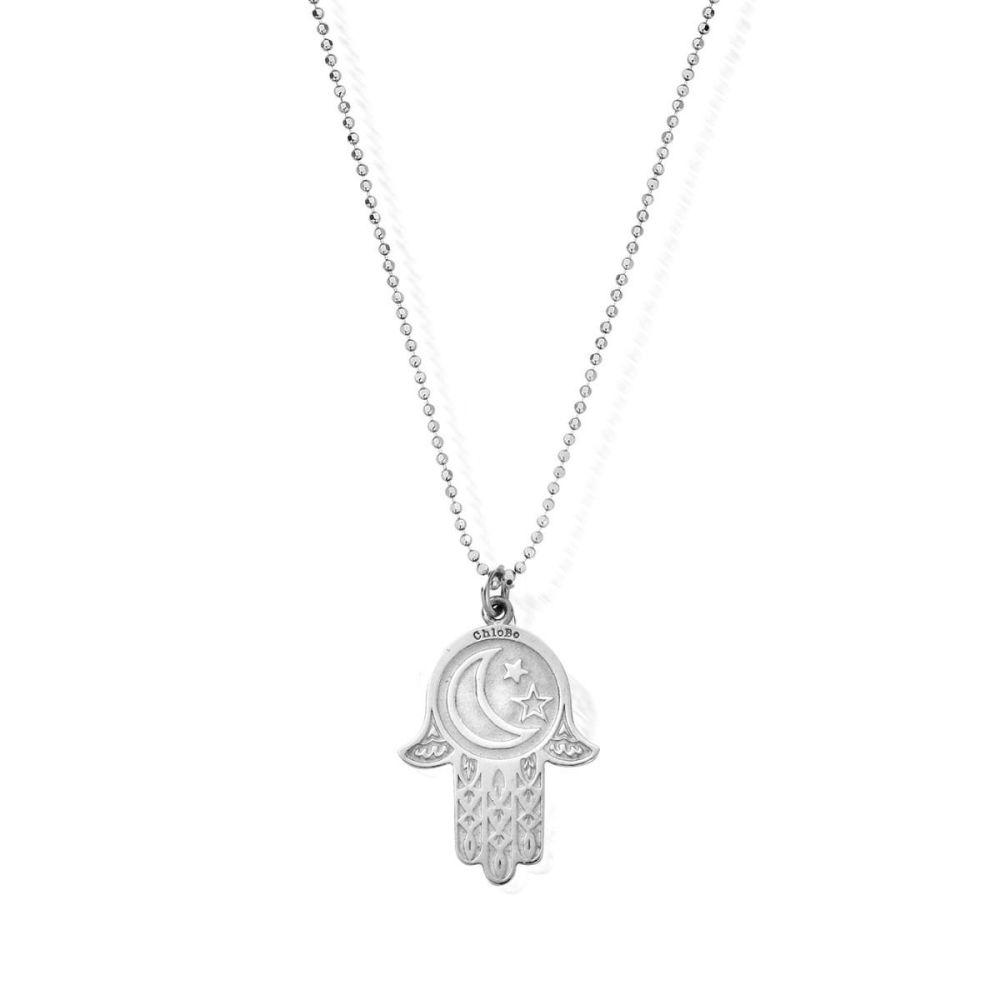 Diamond Cut Chain With Moon And Star Hamsa Hand Pendant