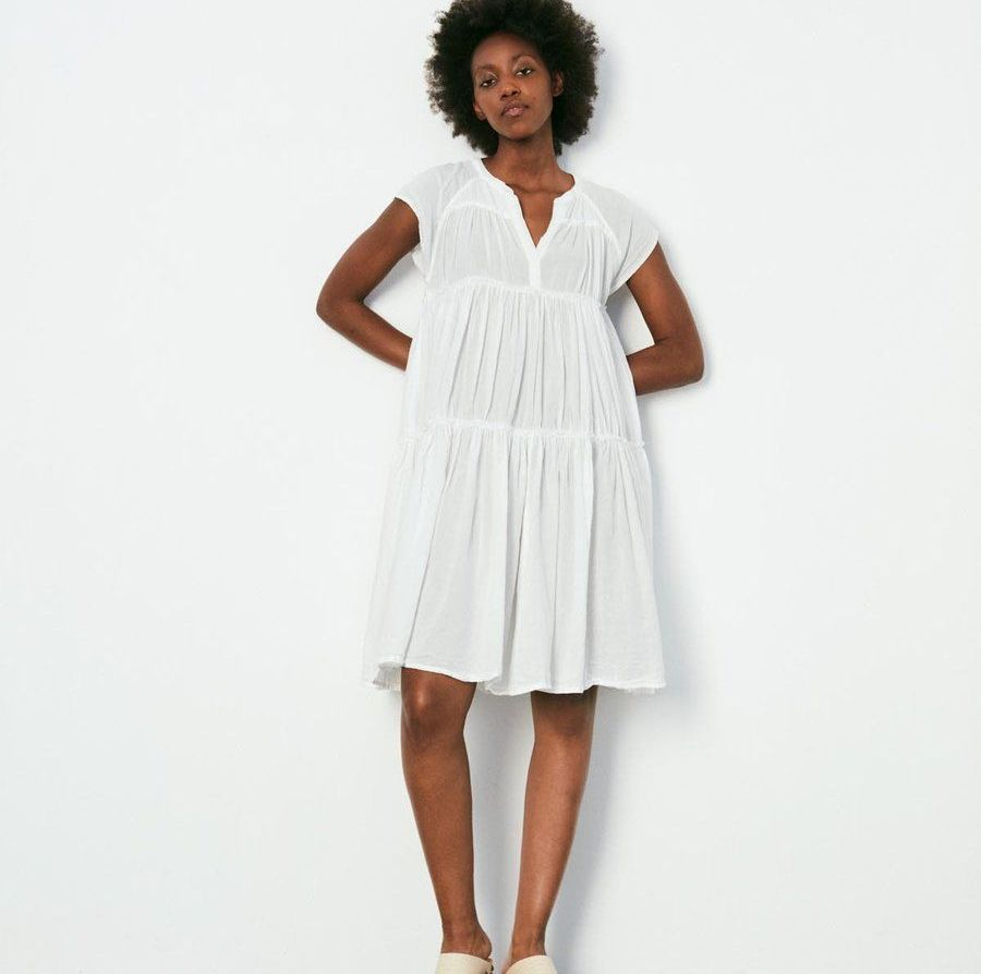 Rabens Saloner Jytte Dress available in white, coral and sky blue.
