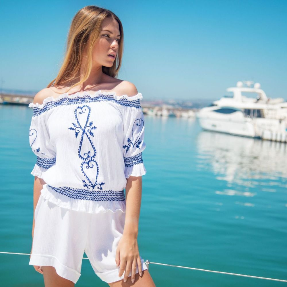 Lindsey Brown Sicily White Shorts
