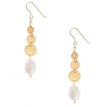 Pink Powder Pearl and Disc Charm Earrings