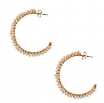 Pearl Big Silver Gold Plated Hoop Earrings