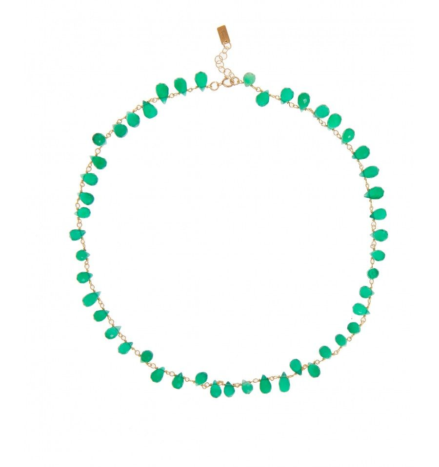 Pink Powder Necklace With Green Onyx Mini Drops