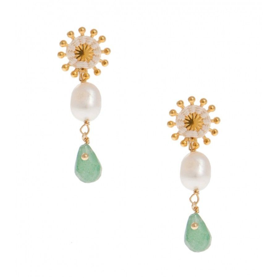 Pink Powder Pearl and Green Aventurine Sunburst Earrings