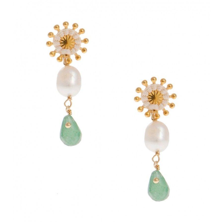 Pink Powder Pearl and Green Aventurine Sunburst Earrings