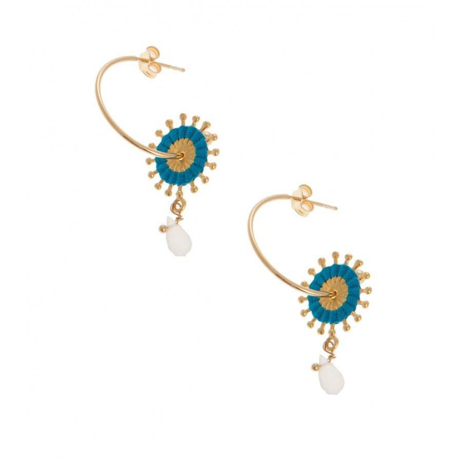 Pink Powder Turquoise Sunburst Earrings