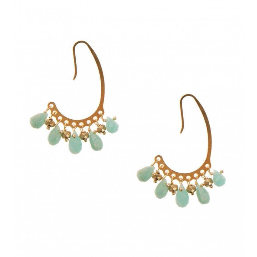 Pink Powder Amazonite and Hematite Half Hoop Earrings