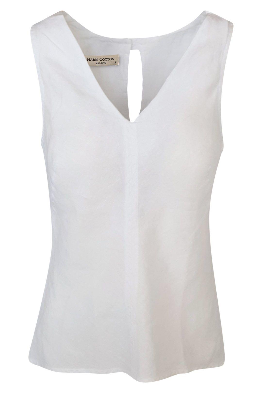 Haris Cotton V Neck Linen Top