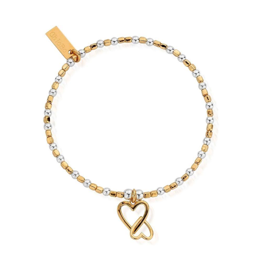 Chlobo Gold and Silver Interlocking Heart Bracelet