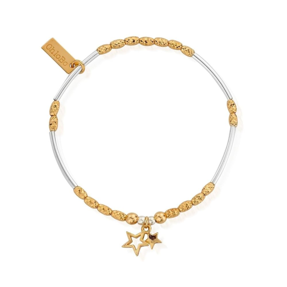 Chlobo Gold and Silver Double Star Bracelet