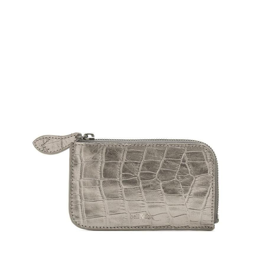 Bell & Fox FERN Leather Card Holder - Pewter Croc