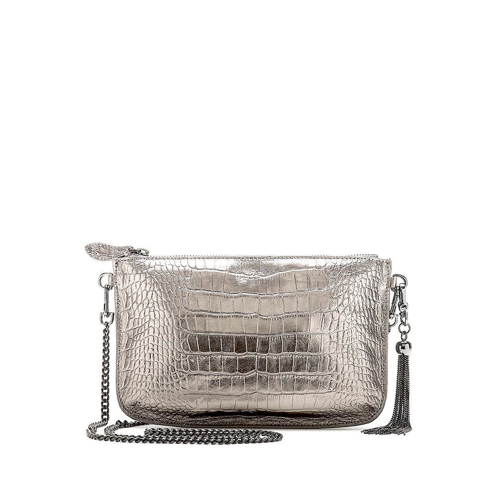 Bell & Fox IVY Metal Tassel Chain Strap Cross Body Bag / Clutch - Pewter Croc