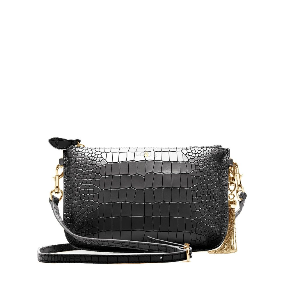 Bell and Fox Ivy IVY Metal Tassel Leather Strap Cross Body Bag / Clutch - Black